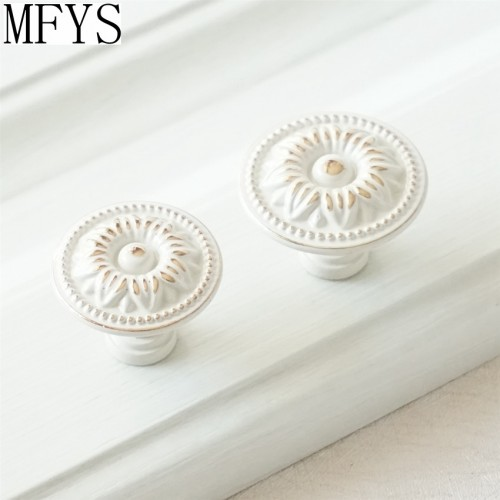 Shabby Chic Dresser Drawer Knobs Handles Creamy White Gold Flower Kitchen Cabinet Door Handle French Country