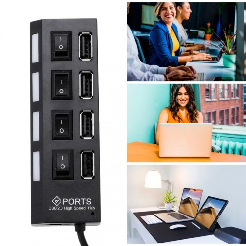 High Speed 4 Port USB 2.0 External Multi Expansion Hub with ON / OFF Switch