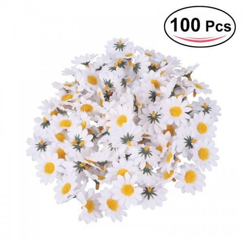 100pcs Artificial Gerbera Daisy Flowers Heads DIY Cake Wedding Decoration Artificial Flowers Craft