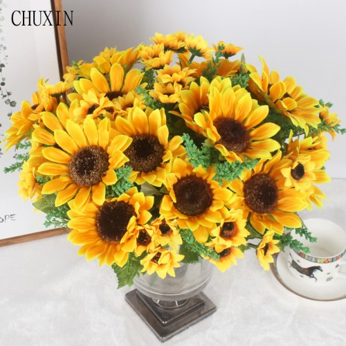 Autumn Decoration 13 Heads Yellow Sunflower Silk Artificial Flowers Bouquet For Home Decoration Office Party Garden