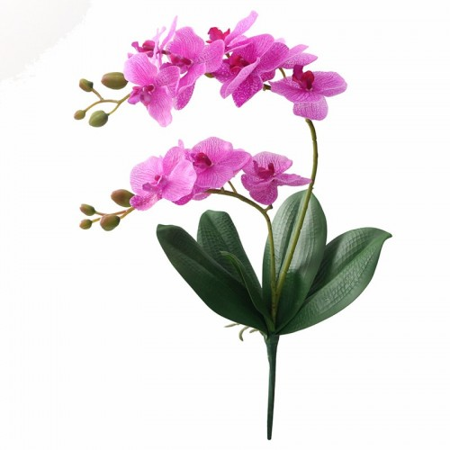 JAROWN Artificial Flower Real Touch Latex 2 Branch Orchid Flowers with Leaves Wedding Decoration Flores