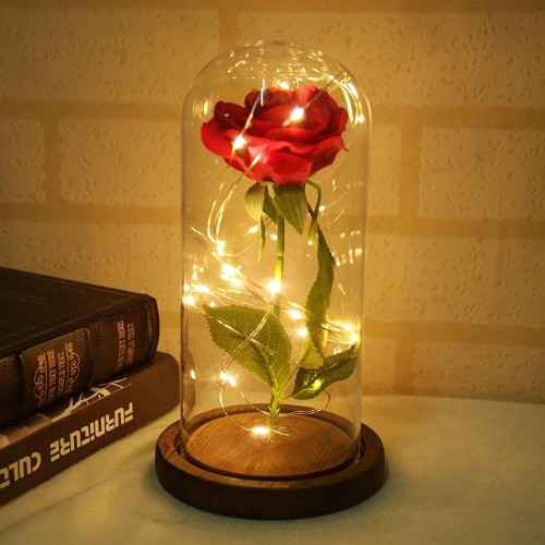 LED Beauty Rose and Beast Battery Powered Red Flower String Light Desk Lamp Romantic Valentine s