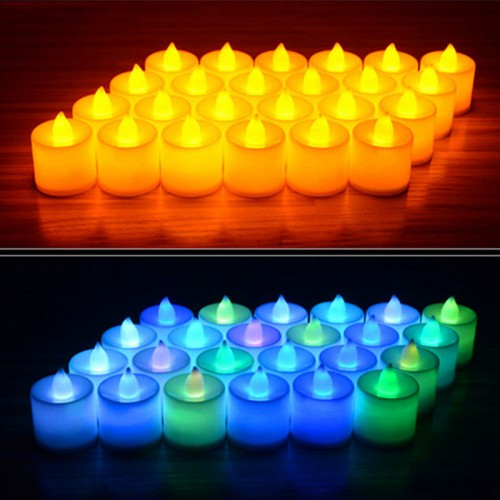 6pcs Battery Powered LED Candle Multicolor Lamp Simulation Color Flame Flashing Tea Light Home Wedding Birthday
