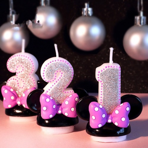 Birthday Figure Number Candle Pink Bowknot Mickey Minnie Candle Girl Baby Kid Child Birthday Anniversary Candle