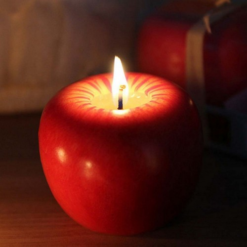 Fruit Candles Christmas Simulation Artificial Apple Shape Candles Christmas Eve Wedding Party Decoartion Supplies Creative