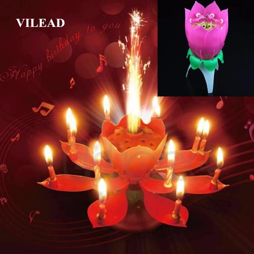 VILEAD Brief Romantic Musical Candle Lotus Flower Party Art Happy Birthday Candle Lights Party DIY