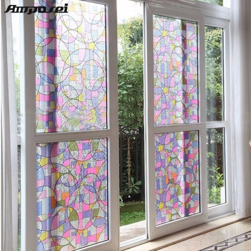 45x200cm Privacy Textured Static Cling Stained Glass Window Film Home Decor UV Anti Glass Film Window