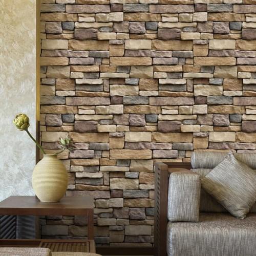6 Design Vintage Brief Wall Sticker Pattern Self Adhesive Waterproof Wallpaper for Bricks Bedroom Living Room