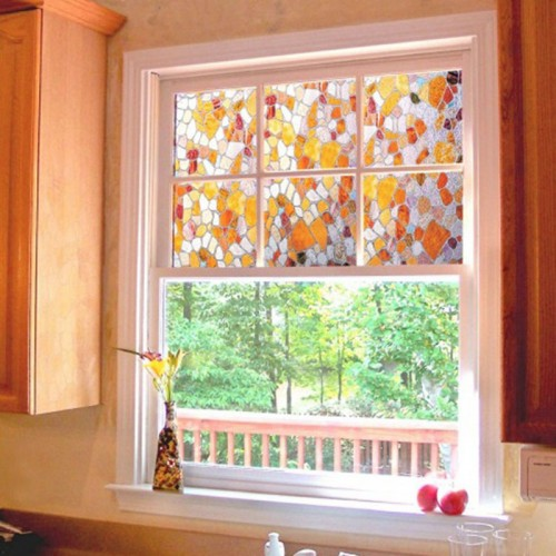 Colorful Cobblestone Glass Film Home Decorative Stained Window Glass Films Bathroom Protect Privacy Decorative Films 45x100cm