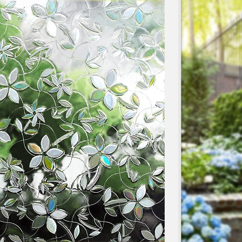 High end 3D laser floral pattern glass decorative film vinyl self adhesive stained heat insulation anti