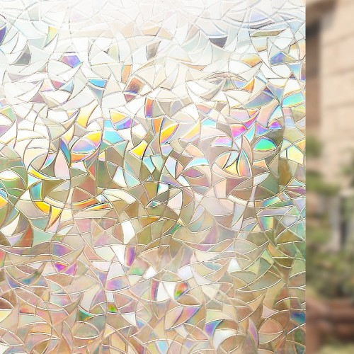 Non Adhesive Window Film Decorative Privacy Static Clings Rainbow Colorful Pattern Glass Film