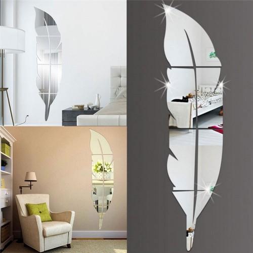 15 72cm DIY Feather Pattern Acrylic Mirror Effect Wall Sticker Home Decoration Mirror Mural Makeup Spiegel