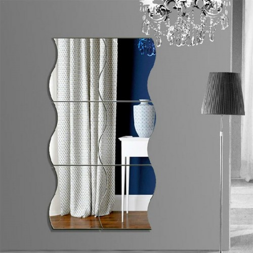 6Pcs Wall Mirror Acrylic DIY Wave Style Removable glass Sticker Makeup Mirror Home bedroom Decorative mirror