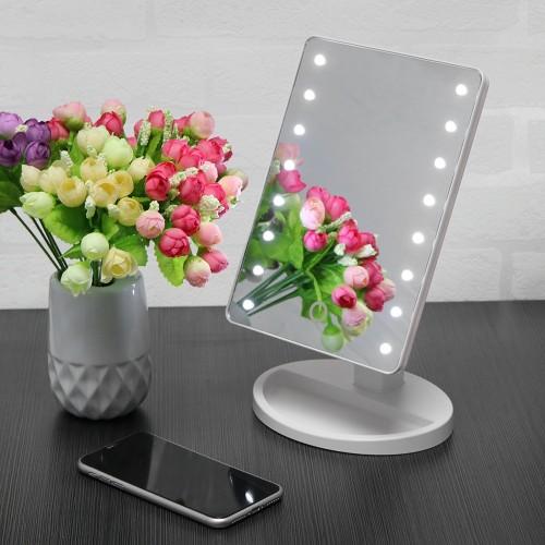 Desktop Sensor Lighted Makeup Mirror Rotatable Desk Stand USB Battery LED Lamp