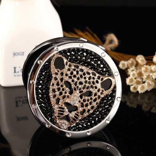 Engrave words bling rhinestone tiger leopard head Mini Beauty pocket mirror Bridesmaid Christmas makeup