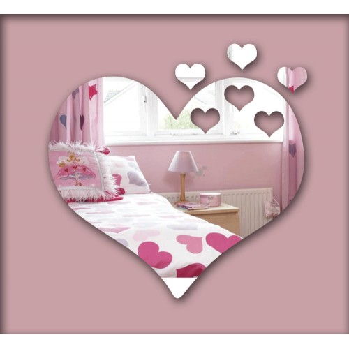 Hearts 3D mirror wall sticker decorative mirror frame sticker for bedroom Nersury living room deco