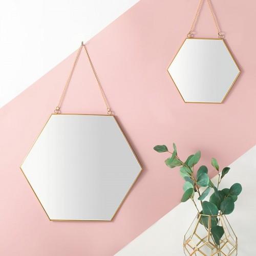 Nordic Simple Geometric Golden Brass Hexagonal Mirror Bathroom Porch Hanging Mirrors Lady Makeup Mirror Home Decor