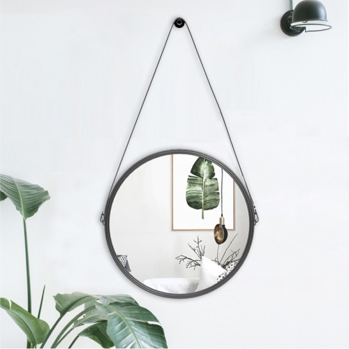 PU Leather Round Wall Mirror Decorative Mirror with Hanging Strap Including Hook Hanger Diameter 11 8
