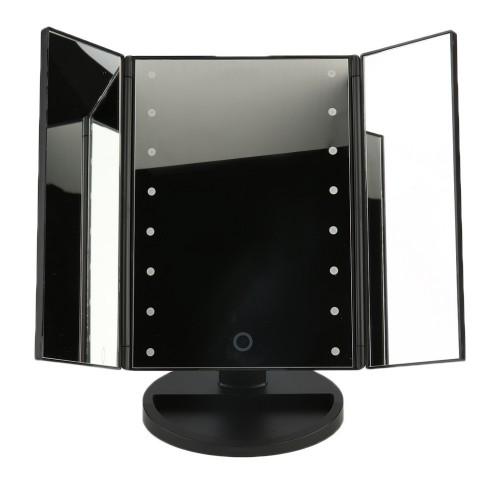 Portable Three Folding Table LED Lamp Luminous Makeup Mirror Cosmetic Adjustable Tabletop Countertop 16 LED lights