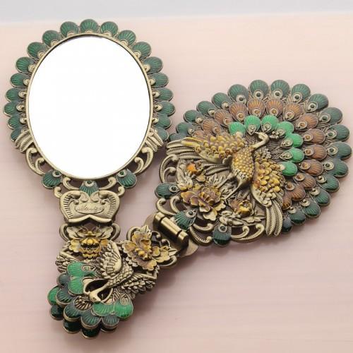 Russian makeup mirror Desktop Princess portable handle folding mirror Hand held vintage butterfly imitation bronze mirror