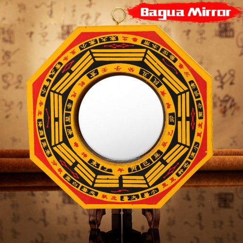 Wooden Lucky Chinese Feng Shui Dent Convex Bagua FengShui Mirror Taoist Talisman Energy Yellow Home Decoration
