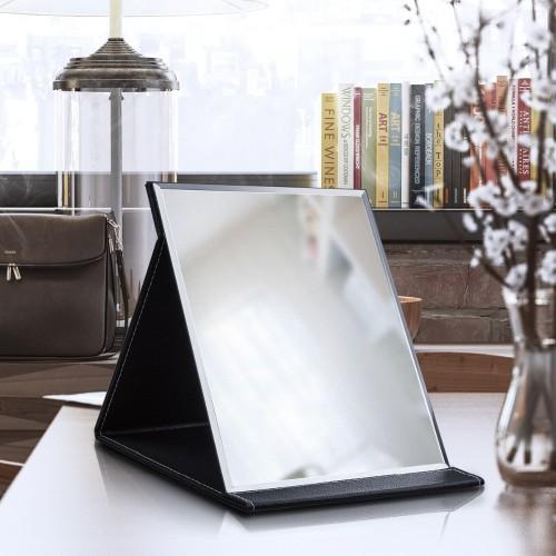 pink black Travel Mirror Foldable Pocket Portable Stainless Steel Rectangular Mirror Makeup Folding Compact Desktop Table