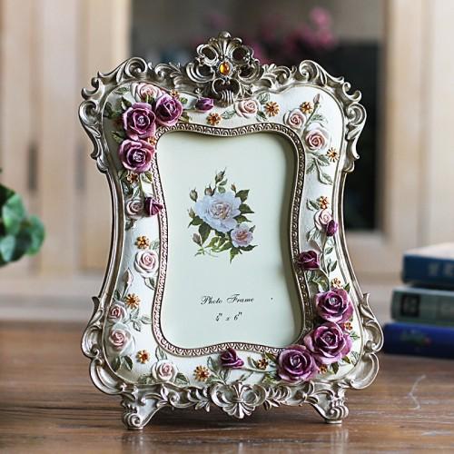 6 Inch Rose Resin Photo Frame Wedding Crafts Desktop Decoration Picture Frame ElimElim