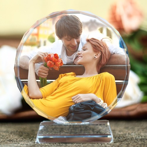 Customized Round Shape Crystal Glass Photo Frame Personalized Picture Frame Photo Album For Birthday Friends