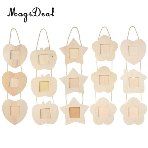 MagiDeal Rustic Wooden Hanging Photo Frame 3 Family Picture Frames Party Kids DIY ColorDecor