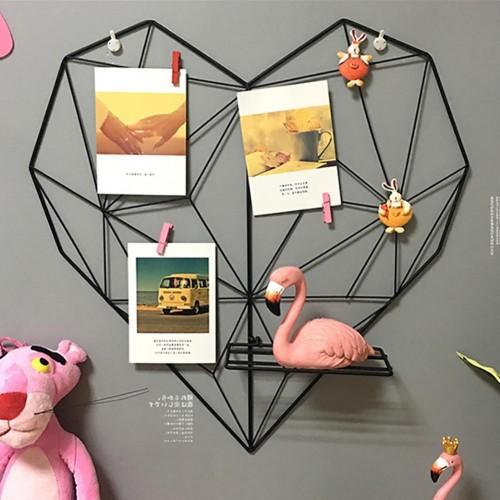 Metal Heart shaped Photo Grid Frame Wall Photos Grids Postcards Mesh Frame Home Bedroom DIY Decoration