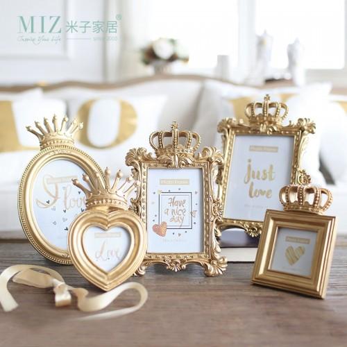 Miz Home 1 Piece 5 Model Luxury Baroque Style Gold Crown Decor Creative Resin Picture Desktop