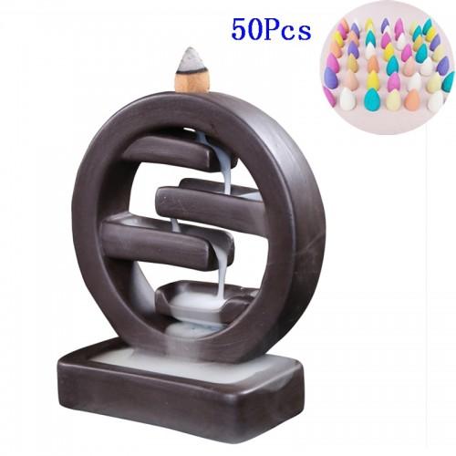 F With 50PCS 20PCS Incense Ceramic Backflow Incense Burner Creative Home Decor Incense Holder Censer Living