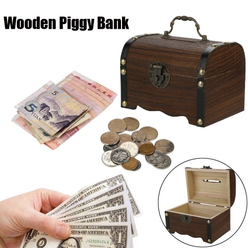 1PC Wooden Piggy Bank Safe Money Box Savings With Lock Wood Carving Handmade Coin storage box