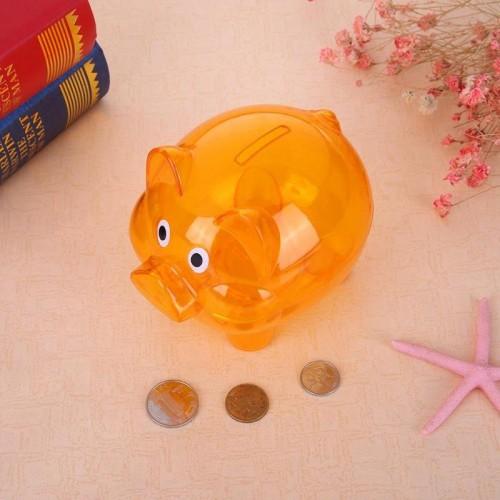 Children Piggy Bank Plastic Transparent Money Saving Boxes Case Coins Saving Cute Cartoon Pig Shaped Piggy