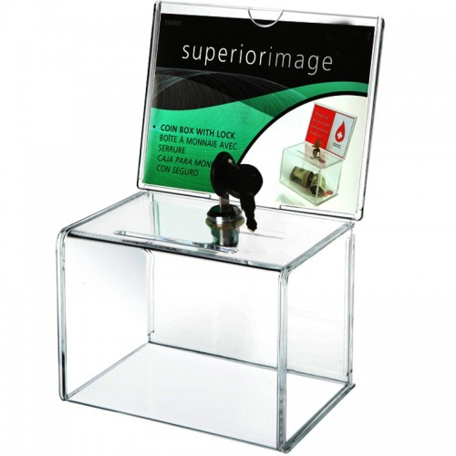 Counter Acrylic Donation Collection Box Perspex Charity Fundraising Box with Keylock for Church non profitable Group