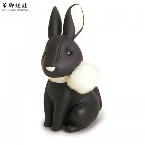 Lovely Rabbit Coin Piggy Bank Leather Cartoon Money Box Luxury PU Bunny Figurine Kid Cash Box