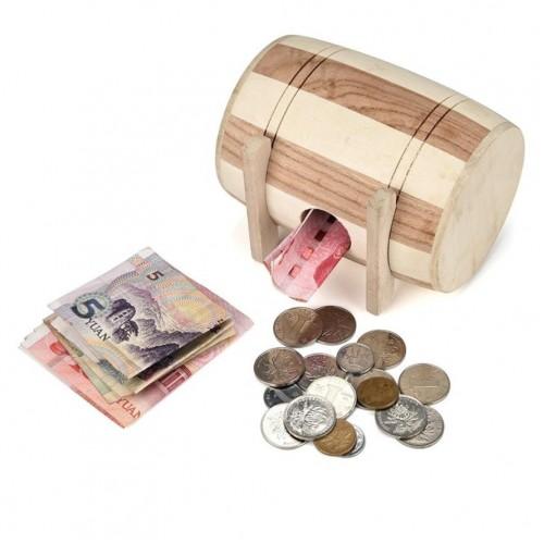 New 1pc Wooden Money Box Piggy Bank Safe Money Box Savings Barrel Wood Carving