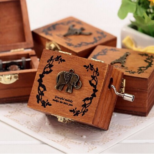 4 Songs Music Boxes Vintage Wood Music Box DIY Craft Vintage Musical Gold Hand Hurdy