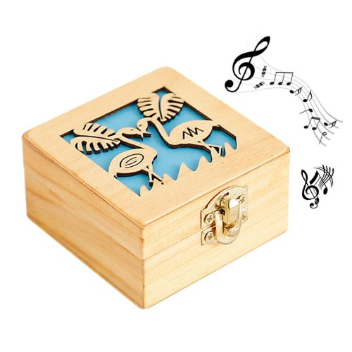 Antique Carved wooden Hand crank box Music Box Many Music Random Play wood music box for