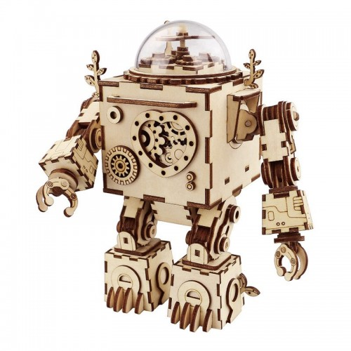 Robotime Steampunk DIY Robot Wooden Clockwork Music Box Home Decoration Accessories Anniversary For Husband Men