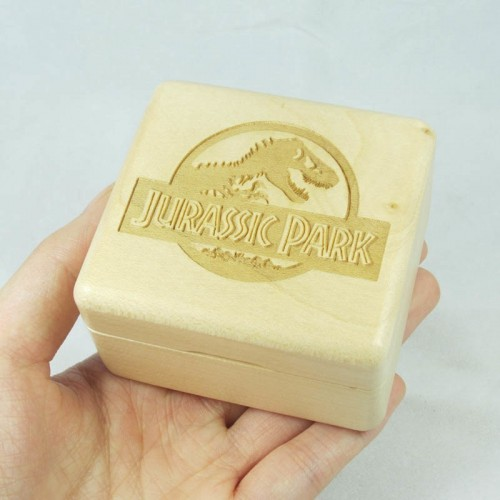 Wind up wood music box with Sankyo mechanism Jurassic Park theme