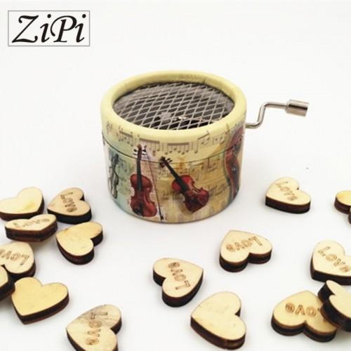 Zipi Violin paper round hand crank music box 18 Notes music box movement DIY romantic music