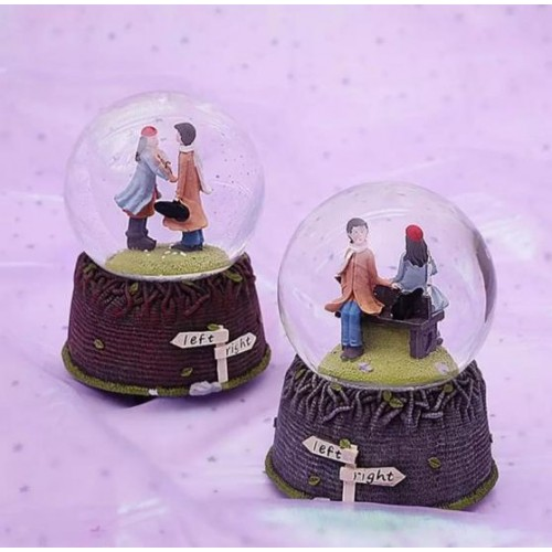 Music-Box Crystal-Ball Cute Couple With Lights Crystal Ball Music Box Creative Crafts Gift