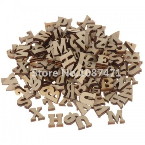 200pcs Wood Letters Craft Flatback Scrapbooking Decoration