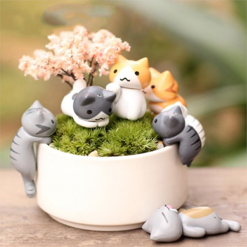 6 Pcs Set Cute Cartoon Cats Pot Tools Garden Decorations