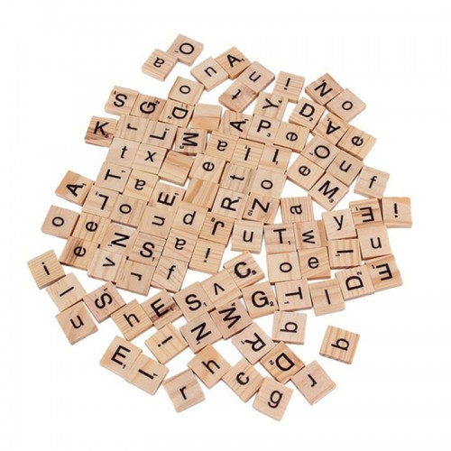 100Pcs Color Alphabet Scrabble Black Letters Numbers Wood