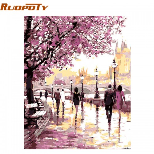 Cherry Blossoms Road Oil Painting By Numbers Kits Wall Art Picture Home Decor 40x50