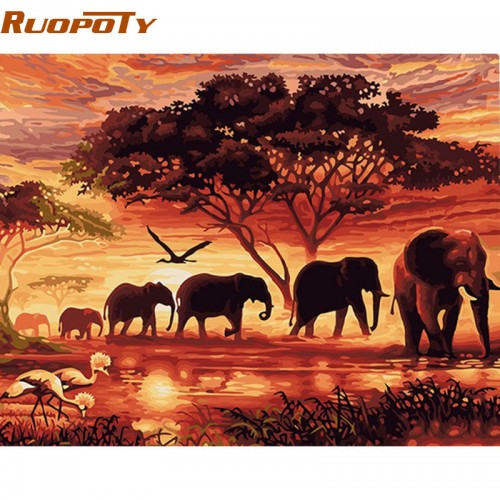 Elephants Landscape DIY Digital Painting By Numbers Modern Wall Art Canvas Painting 40x50cm