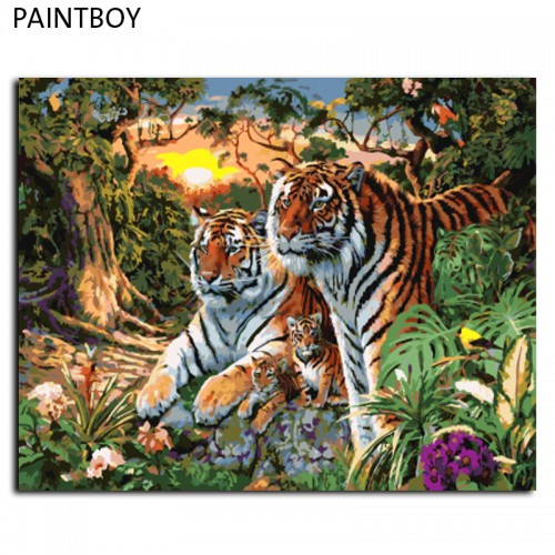 Europe Tiger Family DIY Canvas Oil Painting Frameless Pictures Painting 40x50cm