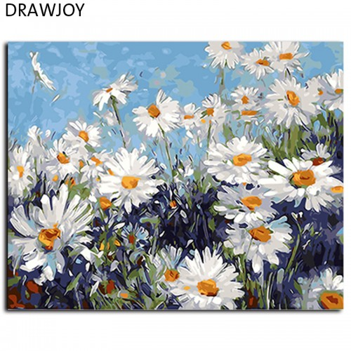 Framed Flower Painting By Numbers Wall Art Canvas Oil Painting 40x50cm